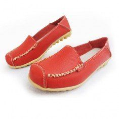 Leather Pure Color Soft Sole Breathable Comfortable Slip On Flat Loafers