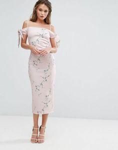 01862f7a26 True Violet Off Shoulder Midi Dress in Floral Print at asos.com