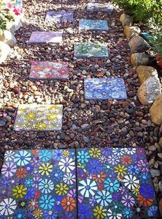 Garden And Lawn , Cool Gardens With Mosaic Stepping Stones : Flowers Square Mosaic Stepping Stone Cool Gardens