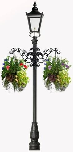 Victorian Garden Lamp Post With Flower Basket Arms
