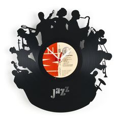 """#Vinyl #Wall #Clock made out of a real 12"""" Acrylic Disc Record - Unique laser cut of silhouettes of a Jazz Band"""