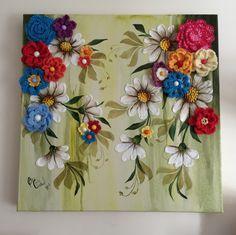 Jardim secreto. Tela em canvas, 40 x 40 cm, margaridas em relevo com volume cetim e flores de crochet.