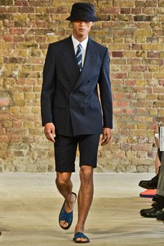 E. Tautz Spring 2013 Menswear. dig the shorts suit. also, i really hope bucket hats aren't coming back in style.