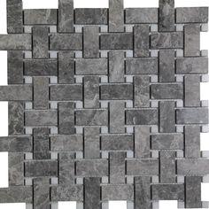 Basketweave mosaic cosmos grey marble polished wall floor tile kitchen backsplash bathroom wall floor luxury stone by medusa tile