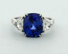 Sapphire Ring with Half Moon Diamonds