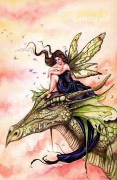 Janna Prosvirina - Daydreaming Dragon Fantasy Myth Mythical Mystical Legend Dragons Wings Sword Sorcery Art Magic Drache dragon drago dragon Дракон  drak dragão Fairy Myth Mythical Mystical Legend Elf Faerie Fae Wings Fantasy Elves Faries Sprite Nymph Pixie Faeries Hadas Enchantment Forest Whimsical Whimsy Mischievous