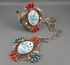 Vintage Navajo Les Holden Ornate Foliate Sterling Turqouise Bird Coral Necklace + Cuff 186 Grams