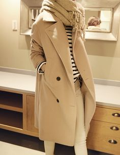 Classic Combo: A Neutral Coat And Stripes (Le Fashion) Classic Combo: A Neutral Coat And Stripes Estilo Fashion, Look Fashion, Womens Fashion, Fashion Trends, Trendy Fashion, Fashion Ideas, Beige Coat, Camel Coat, Mode Chic