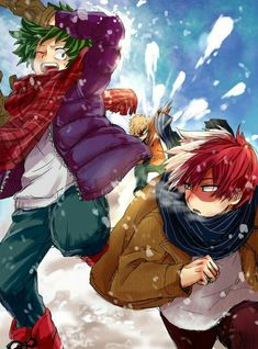 Izuku, Katsuki, Shouto, funny, snowing, winter, snowball fight; My Hero Academia