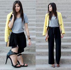 Yellow Tweed Blazer, Men's Basic T Shirt, Wide Black Pants, Book Clutch, Moustache Watch, All Terrain Heels | All-terrain heels (by Adriana Gastélum) | LOOKBOOK.nu