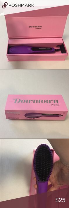 Eva NYC straightening brush • heat straightening brush design by Eva NYC • heat-retaining ceramic plate base  • features multiple heat settings • rubber-tipped flexible bristles • infrared heat with automatic shut-off  Get the smooth, sleek locks the easy way with the Eva NYC Healthy Heat Straightening Brush. This quality hair styling tool provides the same result as a traditional flat iron without the complicated fuss — simply brush through and go! eva nyc Accessories