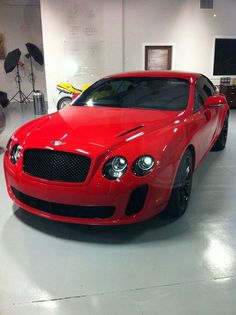 Bright Red Bentley Continental GT