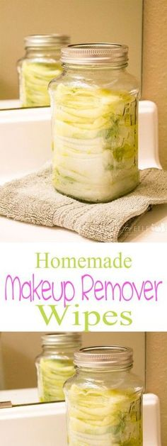 Homemade makeup remover wipes. 2 cup of water, 1 tbsp olive oil, 1 tbsp witch hazel, 10 drops lavender.: