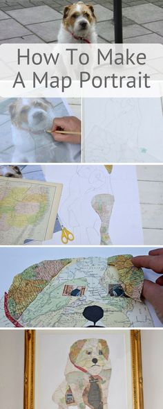 Map art make your own unique collage portrait of your pet out of upcycled maps. Step by step craft tutorial.