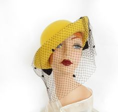 Vintage bowler tilt hat, yellow with black bow, 1960s Mr. John by…