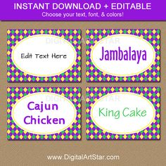 Food Labels, Printable Labels, Printables, Mardi Gras Food, Mardi Gras Party, Stickers, Sticker Paper, Candy Buffet Tables, Dessert Table