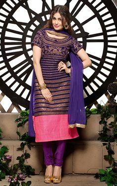 Picture of Ravishing Dark Purple Indian Wedding Salwar Kameez