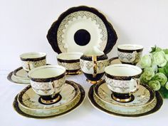 Imperial Black & Gold Tea Set, 22kt Gold, Staffordshire, 1940s.