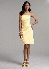 This figure flattering dress is sure to be a favorite for bridesmaids of all shapes and sizes! Simply chic short satin dress features side drape detail and definite wear-again appeal. Available in a variety of colors to suit any bridal party or special event. Fully lined. Back zip. Imported Polyester. Dry clean or hand wash. To protect your dress, our Non Woven Garment Bag is a must have! Select colors are on sale. Please click color and size to view pricingA smooth fabric often used in…