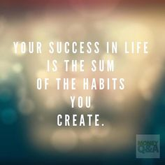 Your success in life is the sum of the habits you create.  #habits #life #quote…