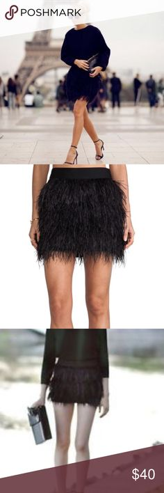 Selling this Black Ostrich Feather Mini Skirt on Poshmark! My username is: infinitelyposh. #shopmycloset #poshmark #fashion #shopping #style #forsale #Dresses & Skirts