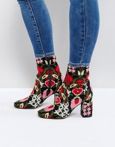 Asos REBEKA Embroidered Ankle Boots