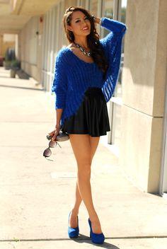 cobalt blue top with black skirt and cobalt blue pumps