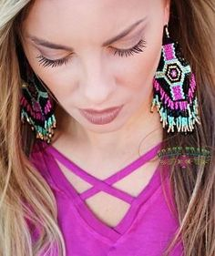 Fun beaded earrings look great with any of our Crazy Train tees and dusters