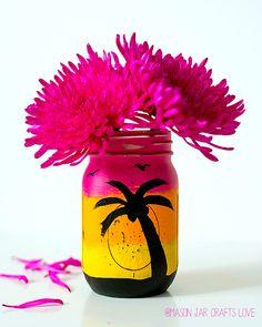Tropical Sunset Mason Jar