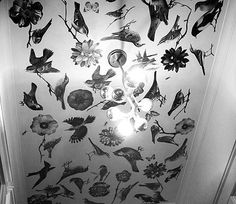 Because February is a DIY month here on AT, we have been looking on the internet for some inspiration. Decoupage on the concrete ceiling in our home wouldn't really work, but it could be a fun project for a smaller wall. More photos and step by step instructions after the jump.