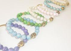 Semiprecious Gemstone or Glass Beaded Bracelets with by rockstarsz, $26.99