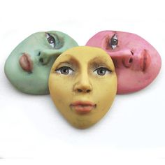 Pastel Set of 3 Face Cabs Polymer Clay Art Doll by graphixoutpost