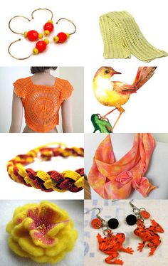 My scarf has been included in a very sunny treasury!--Pinned with TreasuryPin.com