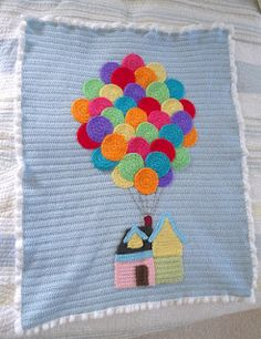 """Happiness is Homegrown: """"Up"""" Inspired baby afghan crochet knit blanket Crochet Afghans, Baby Afghans, Afghan Crochet Patterns, Baby Knitting Patterns, Crochet Motif, Baby Blanket Crochet, Crochet Blankets, Quilt Baby, Crochet Crafts"""