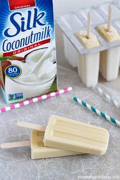 Coconut Vanilla Pudding Pops - easy and delicious homemade pudding pops made using coconut milk. Perfect summertime dessert! #silkcoconut #a...