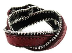 Leather Wrap Zipper Bracelet