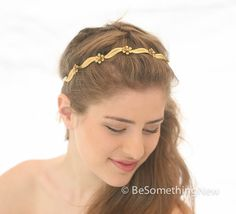 Wired Gold Leaf and Flower Simple Headband by BeSomethingNew #gold headband, #Hair vine, #weddings