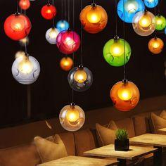 Possi Wired Colorful Globe Glass Single Light Pendant - Pendant Lights - Ceiling Lights - Lighting