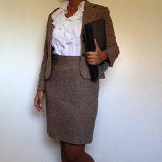 Jones New York Skirt Suit Stand tall in this Jones New York Pencil Skirt. A fitted suit with a soft zig zag design. Shell: 55% Wool, 45% Viscose Rayon Collar: 55% Acrylic, 20% Modacrylic, 14% Polyester Lining: 100% Polyester Jones New York Skirts Skirt Sets