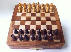 Wooden Chess Set with Magnetized Pieces by eastanbuldesign on Etsy, $30.00