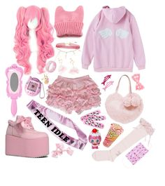 """""""pink lady"""" by vitorialn ❤ liked on Polyvore featuring Accessorize, Moschino, Hello Kitty and Kevin Jewelers"""