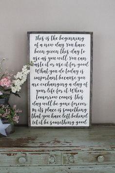 This is the Beginning of a New Day Wood Sign Framed Sign