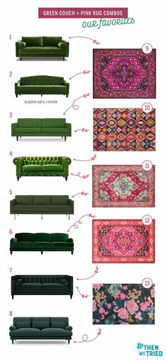 Perfect green couch and pink rug pairings for a bright and colorful living room ., Perfect green couch and pink rug pairings for a bright and colorful living room Colourful Living Room, Living Room Green, Living Room Carpet, Living Room Colors, Living Room Sofa, Rugs In Living Room, Living Room Designs, Colorful Couch, Green Living Room Furniture