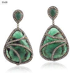 2.40 Ct Diamond 18k Gold 925 Sterling Silver Dangle Emerald Earrings Jewelry #Handmade #DropDangle