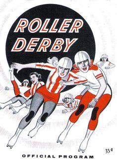 Roller Derby Official Program 35 cents - Vintage / Retro Illustration