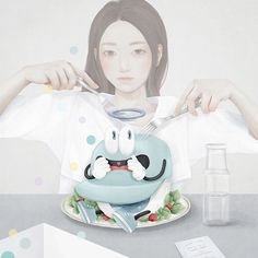 """Korean artist Mi-Kyung Choi, who goes by the moniker """"Ensee,"""" creates digital paintings that blend pastel hues and the delicate touch usually accomplished with traditional materials. Drawing Sketches, Art Drawings, Study Pictures, Study Pics, Pastel Portraits, Korean Artist, Cute Illustration, Digital Art, Digital Paintings"""