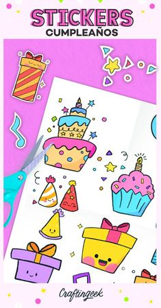 Banner Doodle, Stickers Kawaii, Disney Frozen Birthday, Bookmark Craft, Doodles, Love Store, Lettering Tutorial, Happy B Day, Doodle Art