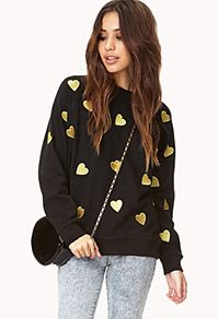 Forever21 Gold Hearts Sweatshirt #blackfriday sale