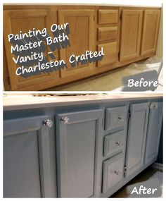 Painting the Bathroom Vanity - how to DIY refinish and paint an oak cabinet - Charleston Crafted