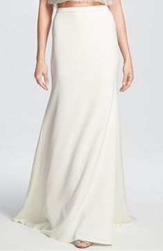 Free shipping and returns on Sarah Seven 'Utopia' Silk Crepe Trumpet Skirt at Nordstrom.com. Complete your contemporary wedding look with a figure-elongating skirt cut from luxurious silk crepe. Woven with plenty of stretch, it provides fluidly weighted drape to a trailing maxi skirt designed for a slim hip-hugging start before breaking into a flowing trumpet finish.